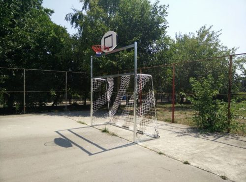 Football goal 3x2 m from steel, with basketball backboard-0