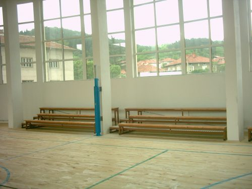 Spectator tribunes with wooden seatings-0