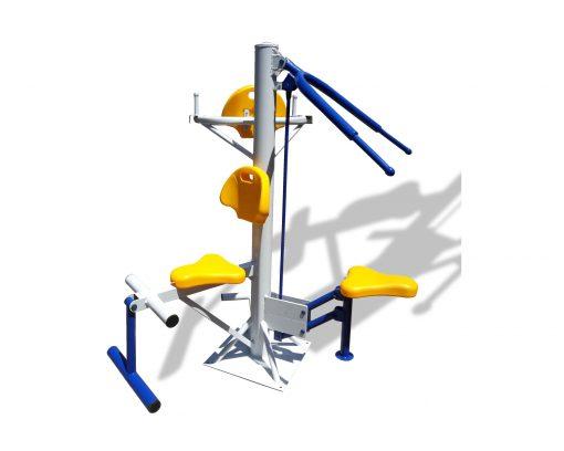 Троен комбиниран външен фитнес уред - висилка, разгъвач, теглене-0