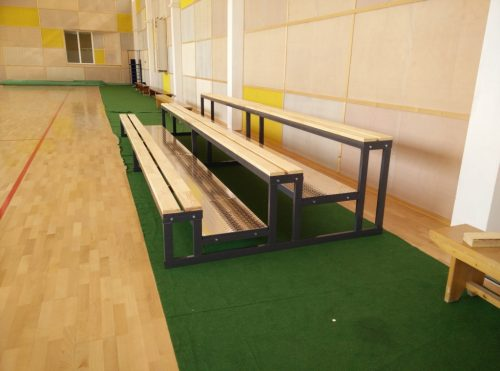 Tribunes with wooden benches - 3 rows-0