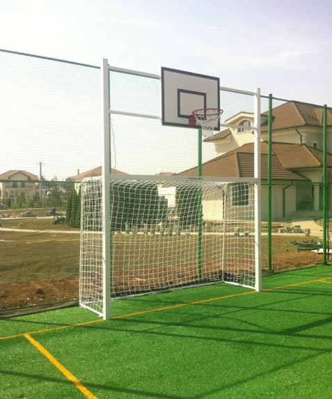 Football goal 3x2 m from aluminium, with basketball console-0