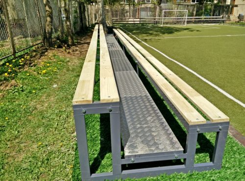 tribune wooden benches